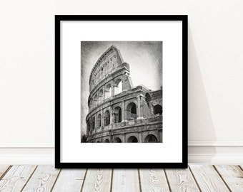 Colosseum, Coliseum, Rome Print, Black and White Photography, Travel Decor, Rome Italy, Europe, Ancient Ruins, Vertical, Wall Art