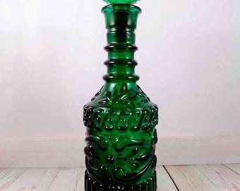 Green Glass Vintage Decanter,glass decanter,mid century mod design,glass bottle,liquor bottle,jim beam bottle,whiskey,rum,vintage, barware