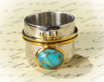 Sterling Silver with 14K Gold Plate Two Tone Stabilized Turquoise Artisan Ring US SZ 7.5 Free Shipping