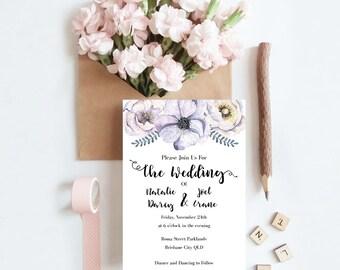 Printable Lilac Dreams Wedding Invitation