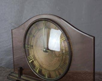 Vintage Deco Pink Glass Mantle Clock