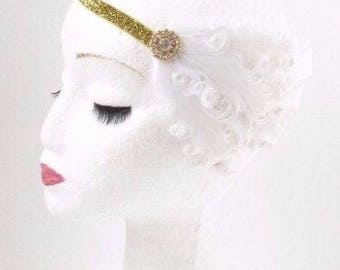 Gold White Feather Headband 1920s Flapper Headpiece Great Gatsby Vintage 2863