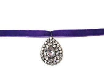 Purple Choker - Purple Necklace - Crystal Pendant Necklace - Crystal Pendant Choker - Crystal Choker Necklace - Crystal Necklace - Choker