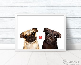 Pug Love quirky art print black and white pug lover gift, Black Pug Faun Pug print quirky gifts pug poster pug birthday gifts pug wall print