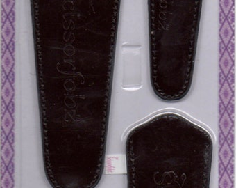 Scissors sheaths -VALUE PACK-4 sizes/pk- Designer Cover w/ScissorGripper Sewing Quilting Embroidery. Shiny Patent Brown. S-09.Free Shipping.
