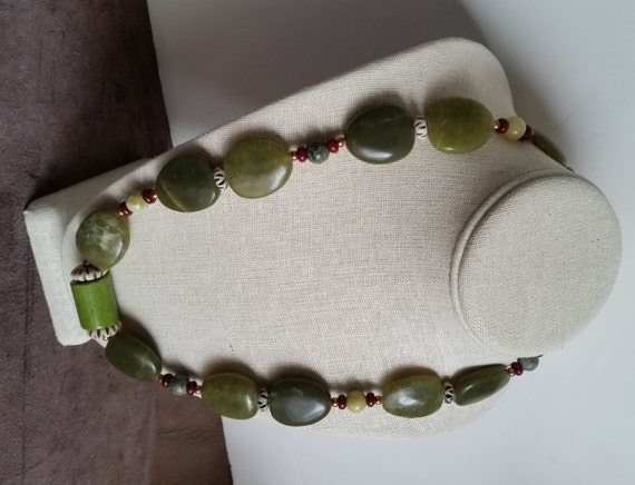 LEMON JADE NECKLACE with Cylinder Focal Bead, Flat Oval Drop Beads, Bone Discs, Copper Hook Clasp. Bold, Chunky, Heavy! 24 inches