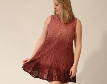 RESERVED) Lace Dress Sleeveless Summer Dress Small Dress Medium Dress Vintage Summer Dress 90s Dress Brown Pink Shift Dress Mini Dress