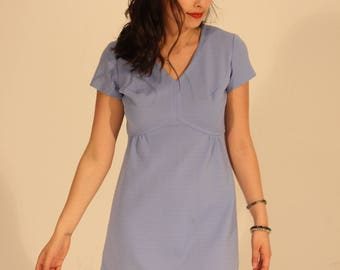 Vintage Dress Blue Mini Dress Summer Dress Blue Dress 60s Dress Light Blue Dress Blue Dress Blue 60s Dress Short Sleeve Dress Small Dress