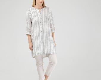 Linen Tunic Shirt / White Linen Tunic / White Linen Shirt / White Linen Top / Loose Fit Tunic Shirt / Wide Linen Shirt / Maternity Shirt