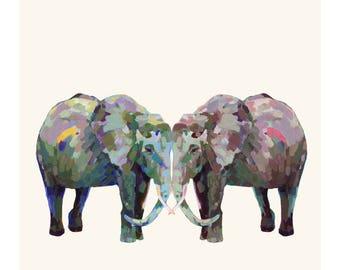 Elephant Print, Love Birds, Nature Lovers, Engagement, Engagement Gift, Anniversary, Anniversary Gift, Wedding Gift, Weddings, Valentines