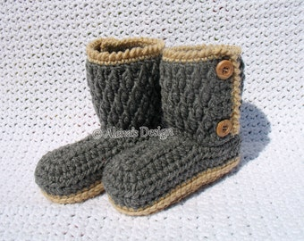 Crocheted Children's Boots OOAK Handmade Boots Buttoned Boots Toddler Grey Brown Pink Slippers Kid's Sizes 1-5 years Jute Soles Christmas