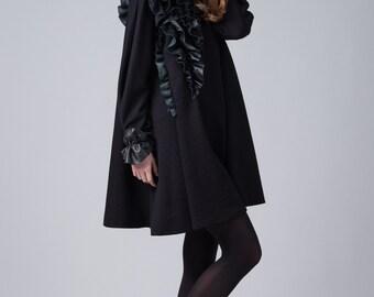 Black A-line dress / Leather detail frill dress / Long sleeves woman's dress / Fashion elegant black dress / Fasada 16151