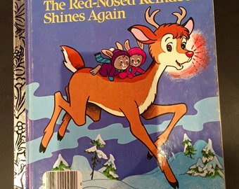 1982 RUDOLPH the RED-NOSED Reindeer Shines Again, Christmas Book, Vintage Little Golden Children's Book