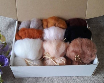 Corriedale Roving Tops Wool The Wishing Shed - Animal Selection Colours Felting Needle Felt Grey Brown Black mix Tan Ginger fox Fawn,