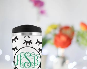 Monogram Travel Mug, Eyelashes, Custom Travel Cup, Stainless Steel, Custom Tumbler,  Bridal Party Gift, Bridesmaid Gifts, Personalized Cups