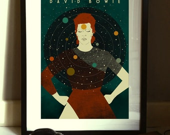 David Bowie 'Starman' 1970s Illustration Poster A3