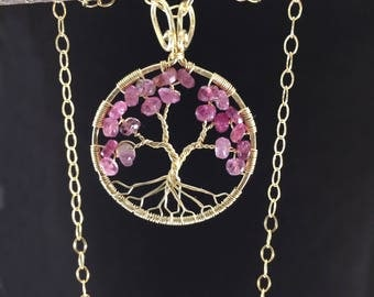 Blush Pink Cherry Blossom Tree-Of-Life Necklace Gold Tree of Life Wire Wrapped Pink Tourmaline October Birthstone Libra Chakra Anniversary