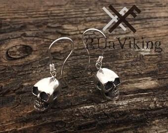 Nanna skull earings - sterling silver - dangle human skull earrings - handmade - anatomy jewelry - silver 925