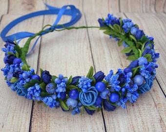 Blue flower crown Blue bridal flower headband Wedding headpiece Bridesmaid flower crown Gift for girlfriend Flower halo Floral headband Gift