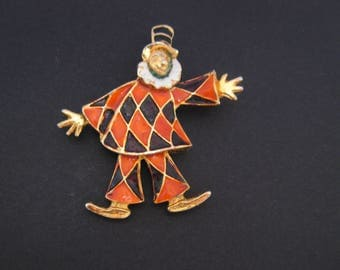 Vintage 1980s Enamel Clown Brooch Pin