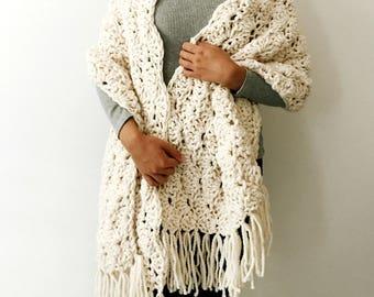 Chunky Knit Wool Fringe Shawl, Knitted Wrap, Women's Warm Soft Knitted, Winter Wedding Crochet Accessory - The Seashell Shawl