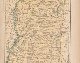 1893 Mississippi Antique Map