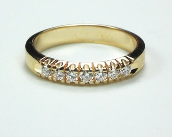 Vintage Diamond Wedding Ring 10k Yellow Gold Wedding Band French Set Diamond Wedding Band Vintage Wedding Band Diamond Wedding Ring