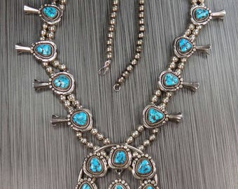 Vintage Sterling Silver Turquoise Squash Blossom Necklace Y. & N. Edsitty Turquoise Necklace Navajo Turquoise Native American Southwestern
