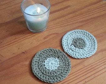 Olive green crocheted coasters, minimalist decor - pair of handmade coasters