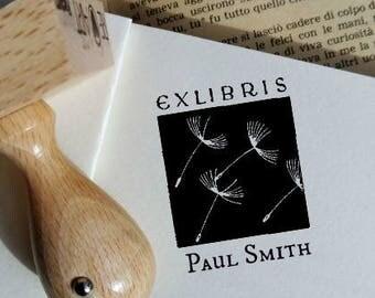 Custom Dandelion Ex Libris Stamp,Personalized Ex LIbis Ink Stamp,Customized Bookplate  -1110150517-