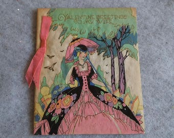 Vintage Rust Craft Valentine's Day Card for Wife Art Deco Crinoline Lady in Pink and Black Dress with Parasol Unused No Envelope ~ 8333