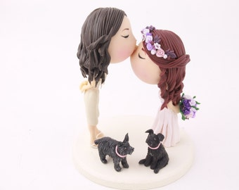 Cute couple kiss  - Eyes close. Wedding cake topper. Mrs & Mrs. Two brides - Gay Wedding. Handmade. Fully customizable.