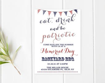 Memorial Day Party Invitation, Memorial Day BBQ, Memorial Day Party, Summer Party, Backyard BBQ Invitation, BBQ Invitation, Summer [462]