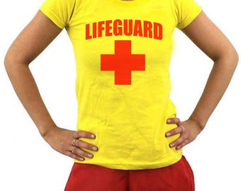 Ladies lifeguard T-Shirt & Shorts Fancy Dress Set, Cosplay, Dress Up, Stag Part, Hen Party, Baywatch T-Shirt