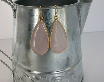 Rose Quartz Drop Earrings Gold Wire Genuine Rose Quartz Earrings Large Rose Quartz Earrings Rose Quartz Teardrop Earrings Rose Quartz E0131