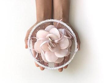 EXPRESS SHIPPING, Ring Pillow Alternative, Ring Bearer Pillow, Ring Holder, Ring Hoop, Pink Flower, Rose, Ring Pillow, Flowers, Boho Wedding