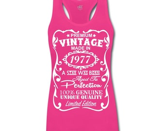 40th Birthday Gift Ideas for Women Unique ***Bamboo*** Tank Top - Made in 1977 Shirt Gift with ***Velvety Print*** design