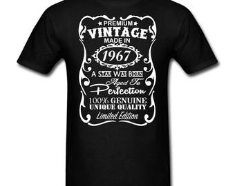 50th Birthday Gift for Men - **VELVETY Print** Unique T-shirt - 50th birthday Shirt - Made in 1967 Birthday Gift for him