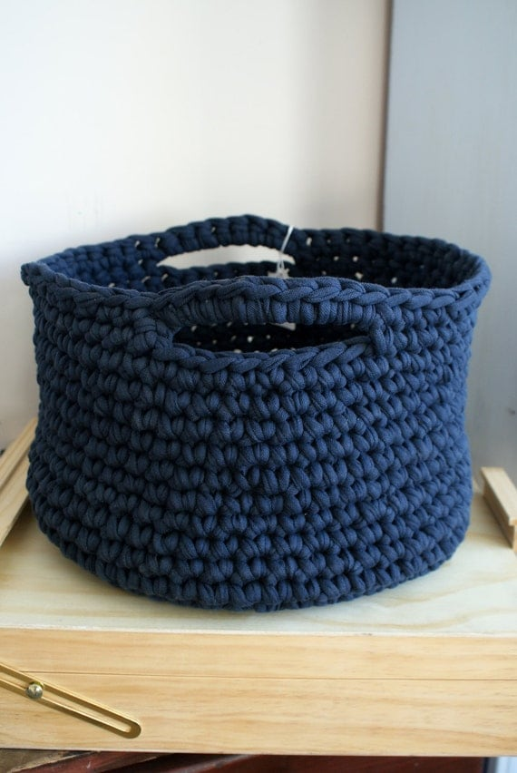 Crochet Storage Basket T-shirt Yarn Basket Zpagetti Yarn