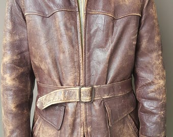 "1950s GRAIS Hollywood Style Horsehide Leather Jacket w/ Belt // ""Sportswear with Grace"" // Genuine Front Quarter Horsehide // MOTORCYCLE"