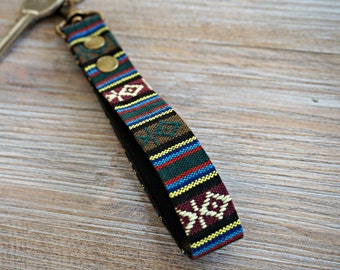 Aztec KeyFob - Aztec Rug Inspired Keyring - Unique Key Chain - Wristlet Key Fob with Clips and Split Ring