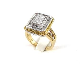 14k Gold Diamond Ring Size 7 Yellow And white Diamonds 3.75 carats