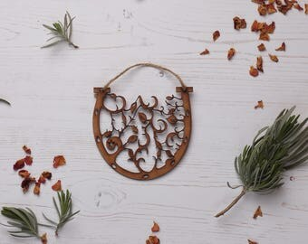 Wooden horse shoe Decoration, Christmas tree decoration, Holiday ornament, wood decoration, wedding, floral ornament, wedding gift FREE P&P!