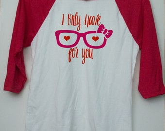Girls Valentines Day Outfit - Valentines Day Gifts For Kids - Girl Valentine Tee - Toddler Raglan Shirt - Hipster Toddler Shirt - Nerdy