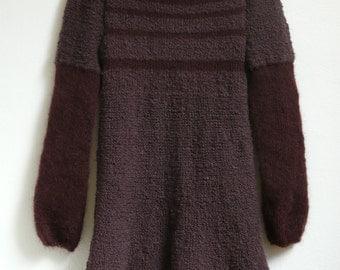 mini knit dress, sweater,dark violet,brown, boucle