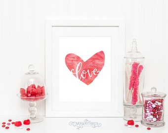 Printable Valentines Day Decor Red LOVE Heart Watercolor Valentines Day Heart Wall Art Heart Wall Decor Pink Instant Download Printable