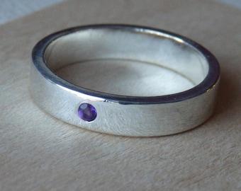 Sterling Silver Flush Set Amethyst Ring