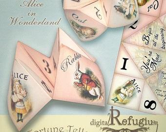 Alice in wonderland,printable Fortune Teller, Party equipment, INSTANT DOWNLOAD,  Digital Collage Sheet