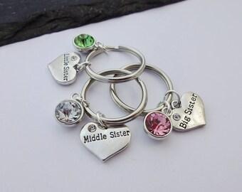 Sister Keyring, Sister Gifts, Little Sister, Middle Sister, Big Sister, Heart Keychain, Sister Keychain, Charm Keyring, Sister Gift, Sisters