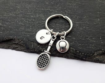 Tennis Keyring, Initial Keyring, Hand Stamped, Sports Keyring, Tennis Coach Gifts, Keychain, Tennis Gift, Personalised Keyring,Tennis Player